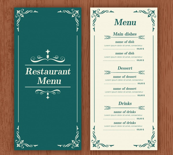 Elegant Restaurant Menu Template Free Download