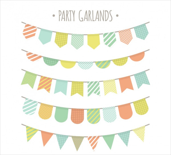 Pack of Party Buntings in Pastel Colors Free Download
