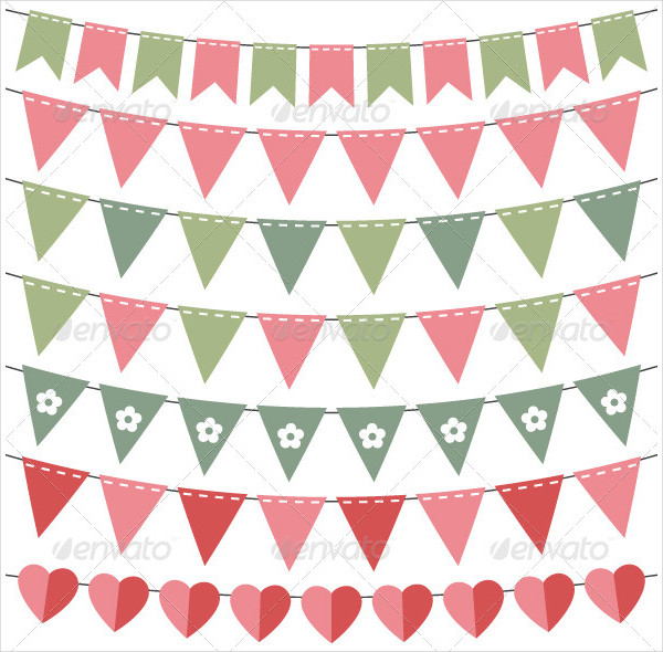 Pink and Green Bunting Banners Set