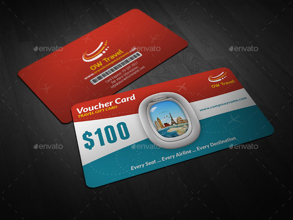 Printable Travel Gift Voucher Card Template
