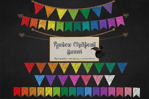 Rainbow Chalkboard Bunting Banner Design Templates