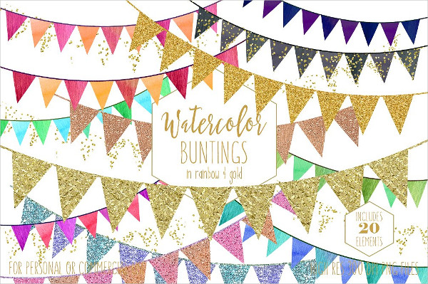 Rainbow & Gold Party Buntings Banner Design