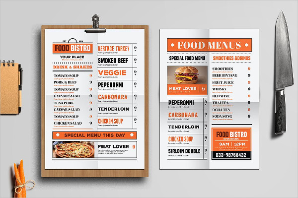 Retro Vintage Food Menus