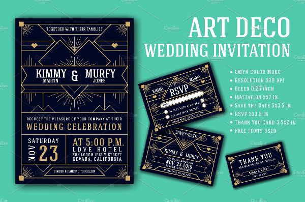 Royal Art Deco Wedding Invitation Template