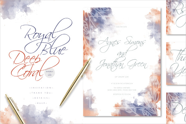 Royal Blue Deep Coral Watercolor Wedding