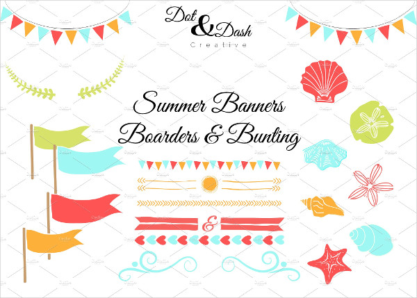 Summer Bunting Banners, & Boarders