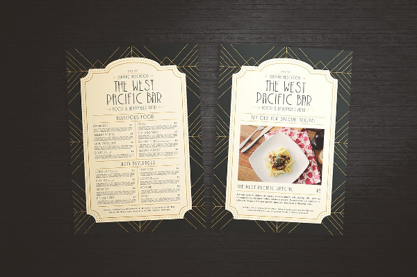 Art Deco Menu Template for Cafe
