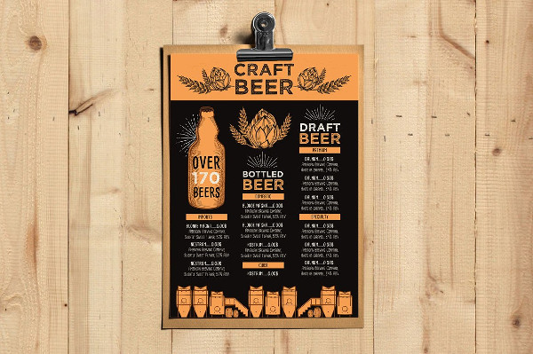Typography Beer Menu Template