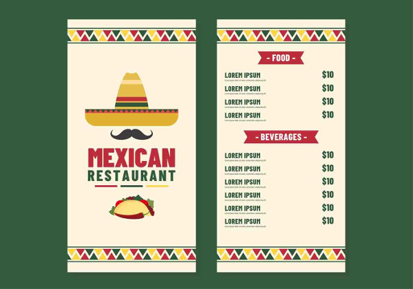 Typography Mexican Restaurant Menu Design Free