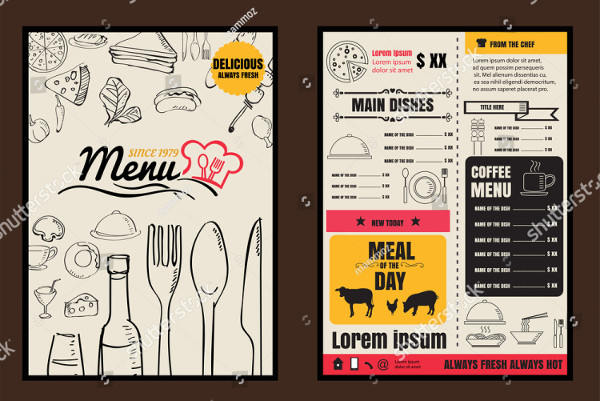 Typography Restaurant Food Menu Vector
