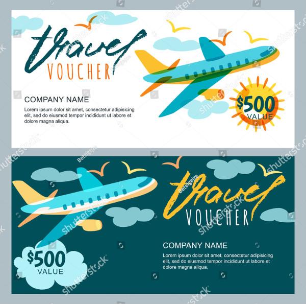 Vector Gift Travel Voucher Template