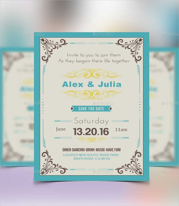 Royal Vintage Wedding Invitation Postcard Template