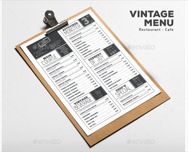 Vintage Menu Design for Restaurant