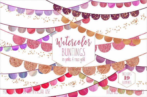 Watercolor Bunting Banner Design Clipart
