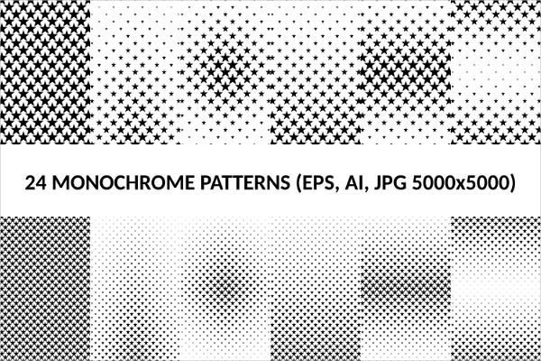 24 Monochrome Star Patterns