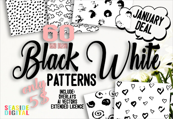 60 Black and White Patterns Bundle