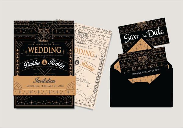 Art Deco Wedding Invitation Free Download