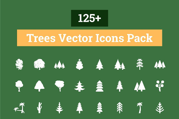 Awesome Trees Vector Icons Pack