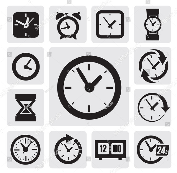 Vector Black Clocks Icons