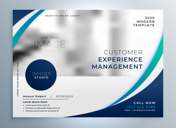 Blue Brochure Design with Stylish Wavy Shape Free