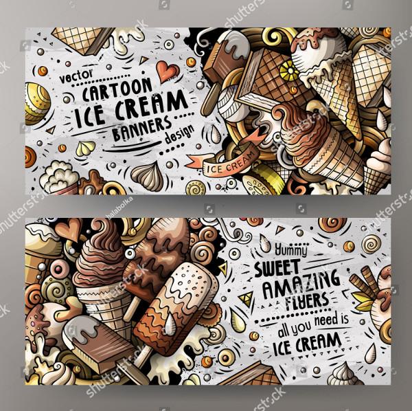 Cartoon Doodles Ice Cream Banners Design