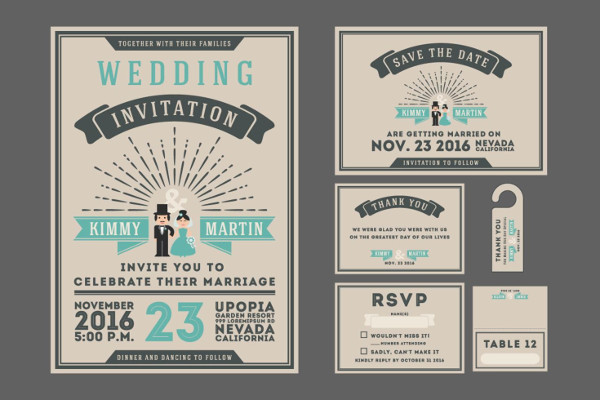 Classic Vintage Sunburst Wedding Invitation Design Free