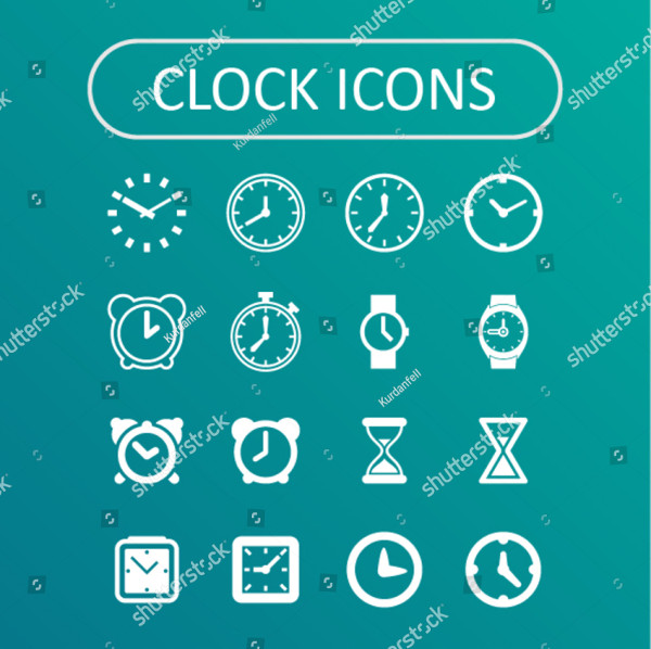 Clean Clock Icons for Website