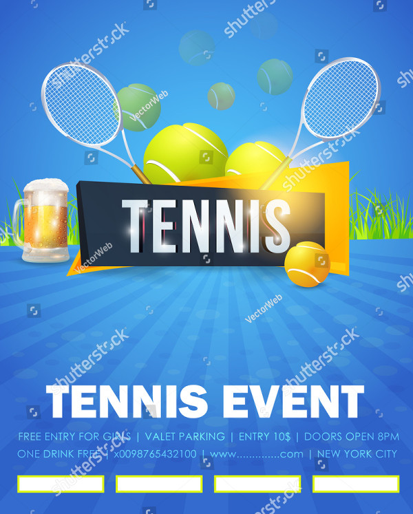 Clean Tennis Event Flyer or Poster Template