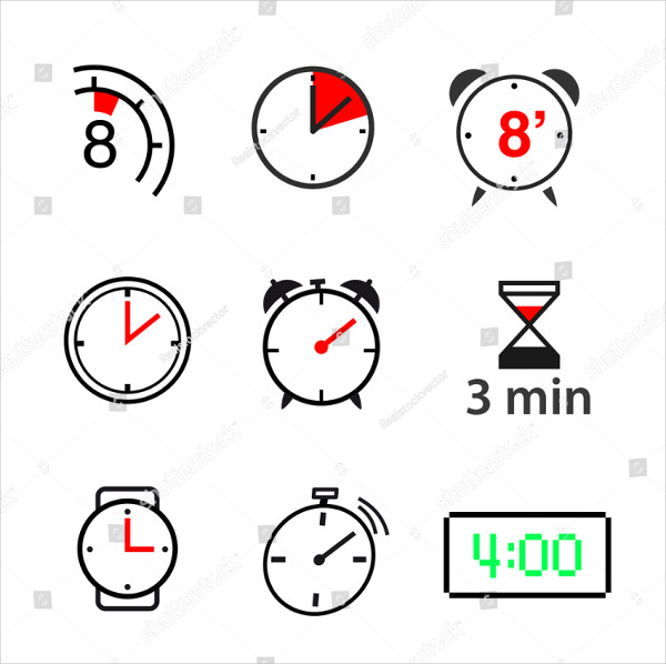 Simple Set of Clock Vector Icons