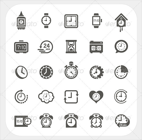 Clock & Time Icons Set in Pop-Art Style