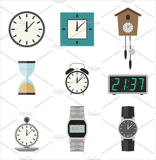 Clock and Watches Vector Icons Set