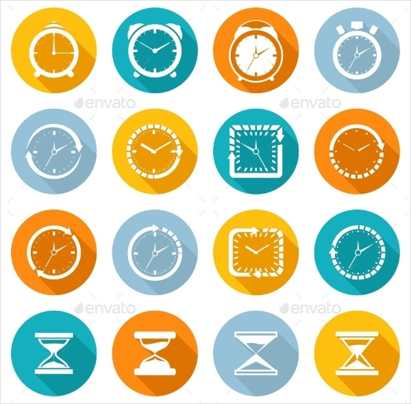 Flat Clock Icon Collection