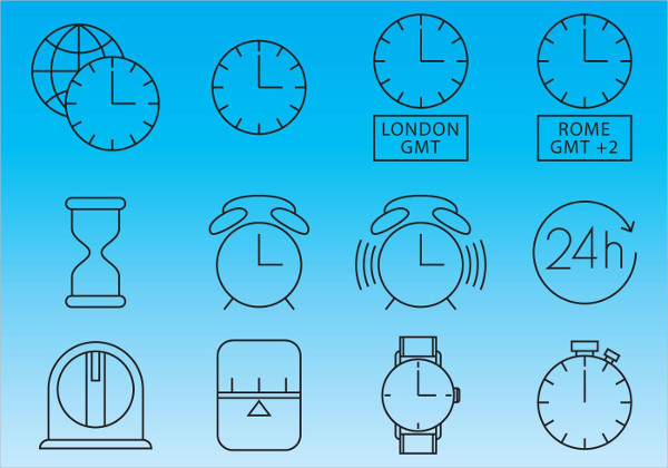 Clocks And Time Icon Vectors Free Download
