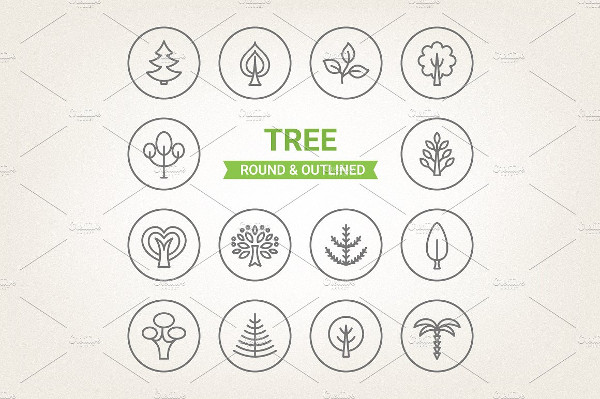 Collection of Circle Tree Icons