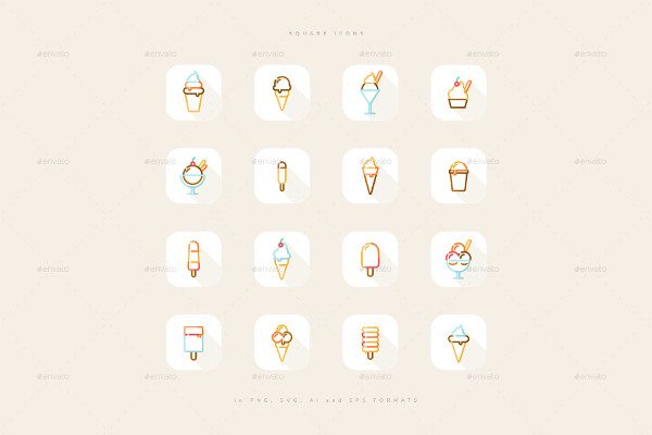 Colorful Ice Cream Line Icons