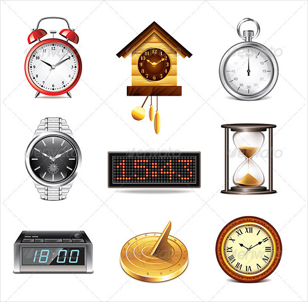 Different Clocks Icons Set