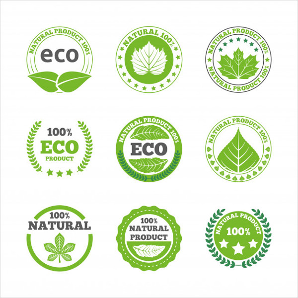 Ecological Leaves Labels Icons Set Free