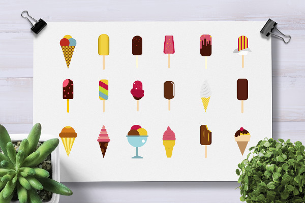 Flat Icons of Ice Cream