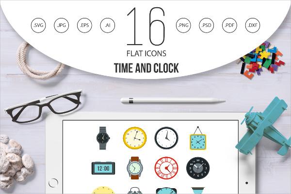 Flat Style Clock Icons Set