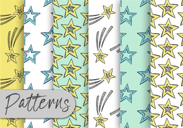 Free Doodle Stars Pattern Set