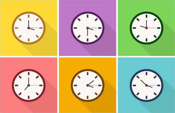 Free Vector Colorful Clock Icons