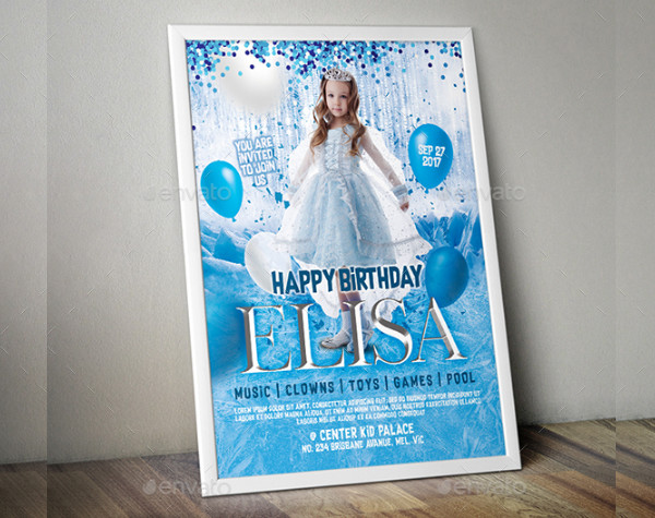 Frozen Theme Kid Birthday Invitation Flyer