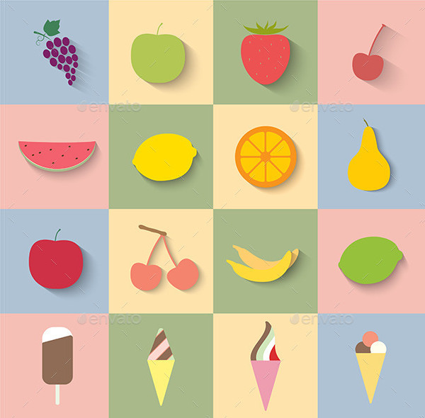Fruit and Ice Cream Icons in Flat Design