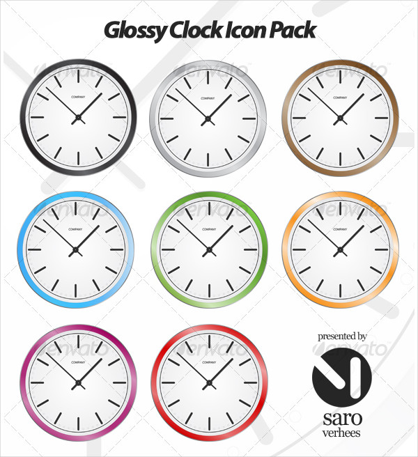 Glossy clock icon with 8 color variations