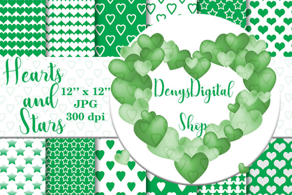 Green Heart and Star Patterned Background