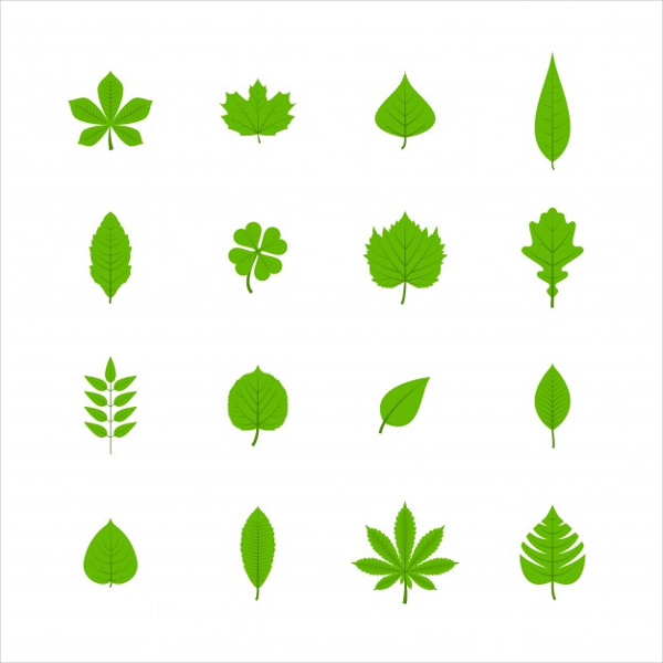 Green Trees Leaves Flat Icons Set Free