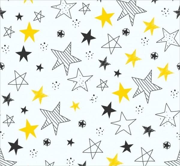 Hand Drawn Stars Pattern Background Free