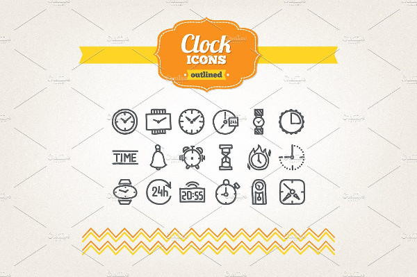 Collection of Hand Drawn Clock Icons