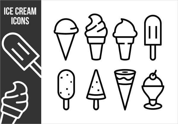 Ice Cream Thin Line Icons Free