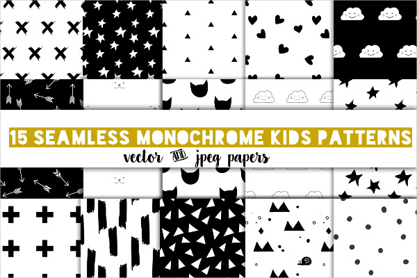 Modern Kids Patterns in Black and White